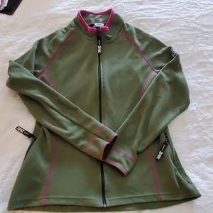 ladies sz m green zoic athena zipper front jacket